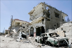 Monthlong Israeli airstrikes have flattened the southern Lebanese town of Ait el Shaab. Many Lebanese celebrated what they perceived as the win of Hizbollah after the month long war that lead to over 1500 civilian deaths in Lebanon and vast destruction of the country's infrastructure from Israeli airstrikes.